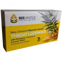Beevantage New Zealand Manuka Honey Throat Lozenge (15s) Throat Lozenges with Pineapple, Turmeric & Coconut Water 3pack