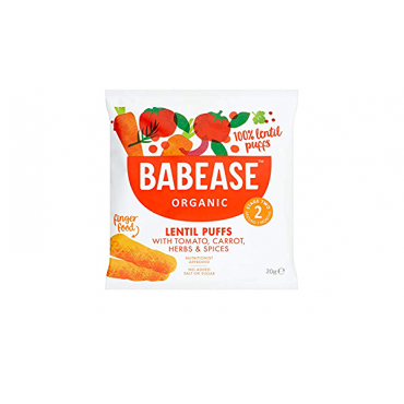 Babease Lentil Puffs with Tomato, Carrot & Paprika 5x20g