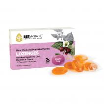 BeeVantage New Zealand Manuka Honey Throat Lozenges with Red Raspberry Leaf, Menthol & Thyme (15 Lozenges) x 3