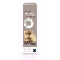 Traidcraft Fairtrade Black Pepper & Poppy Seeds Oaty Biscuits 130g