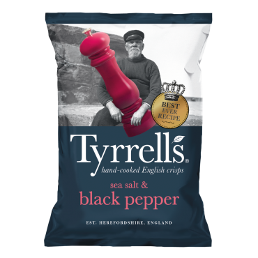 Tyrrell's Sea Salt & Black Pepper Crisps 150g