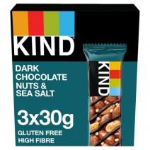 Kind 3pk Dark Chocolate Nuts Sea Salt x 12