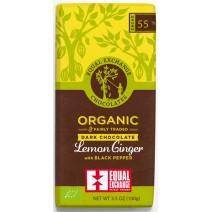 Equal Exchange Lemon, Ginger, and Pepper Dark Chocolate 100g