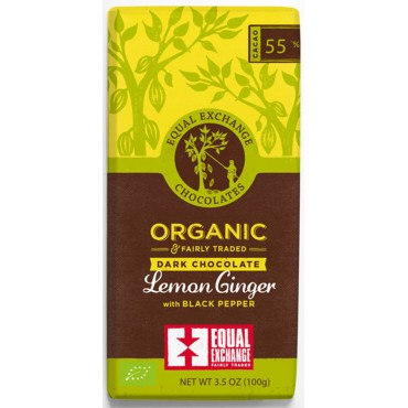 Equal Exchange Lemon, Ginger, and Pepper Dark Chocolate 100g